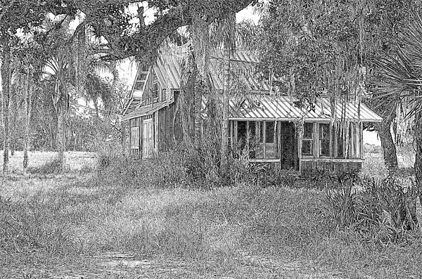 Florida Photograph - Old Florida House Pencil by Ronald T Williams