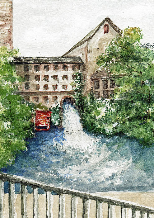 Watercolor Painting - Old Mill Aqueduct by Elle Smith Fagan