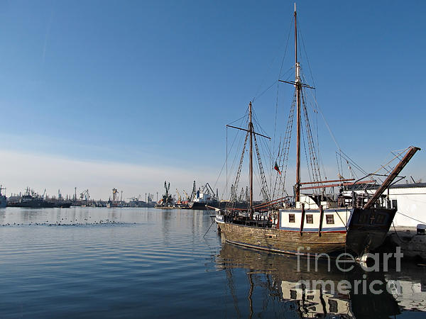 Sea Photograph - Old Ship In Calm Water Harbor by Kiril Stanchev