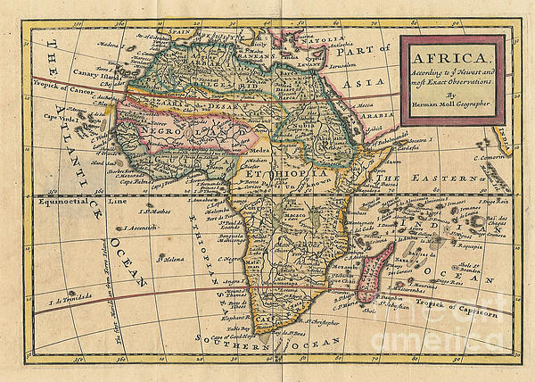 Old World Photograph - Old World Map Of Africa by Inspired Nature Photography Fine Art Photography