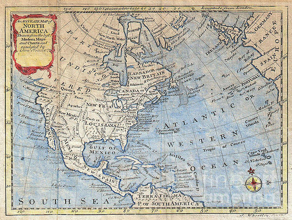Old World Photograph - Old World Map Of North America by Inspired Nature Photography Fine Art Photography