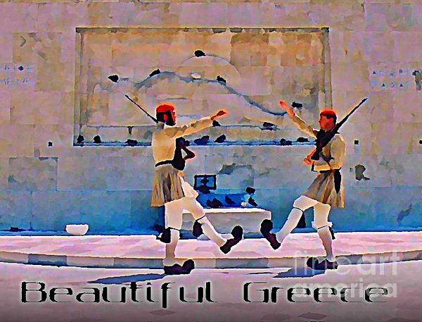 Greece Painting - On Guard At The Athens Capitol by John Malone