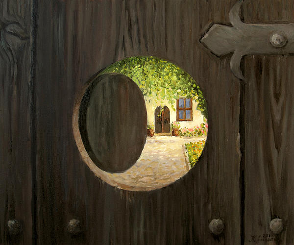 Antique Painting - On The Doorstep by Kiril Stanchev