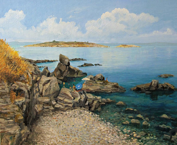 Artistic Painting - On The Rocks In The Old Part Of Sozopol by Kiril Stanchev