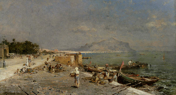 Landscape Digital Art - On The Waterfront At Palermo by Franz Richard Unterberger