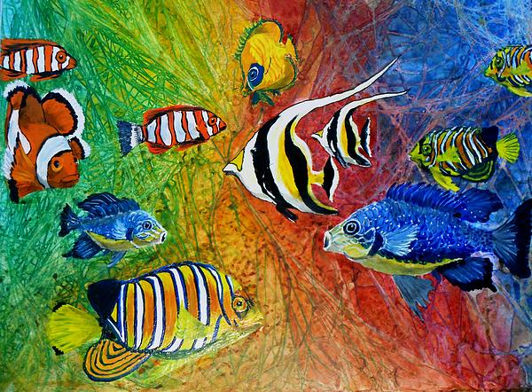 Representative Abstract Paintings Painting - One Fish Two Fish by Liz Borkhuis