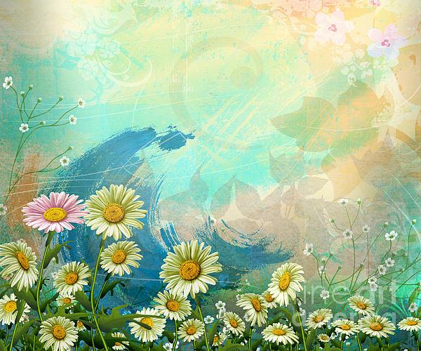 Daisy Digital Art - One Pink Daisy by Bedros Awak