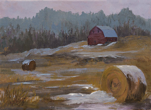 Rural America Painting - One Wintry Day by Bev Finger