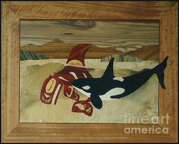 Marquetry Sculpture - Orca Spirit by Jeff Adshead