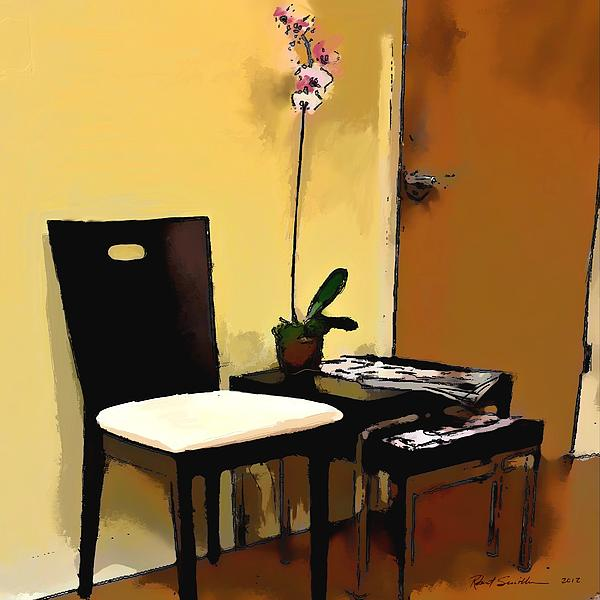 Chair Painting - Orchid By A Chair by Robert Smith