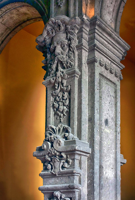 Arches Photograph - Ornate Mexican Stone Column by Lynn Palmer