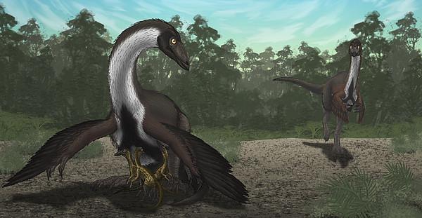 Horizontal Digital Art - Ornithomimus Mother Dinosaur by Vitor Silva