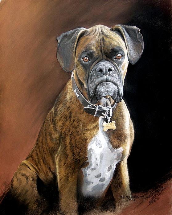 Boxer Painting - Oscar by Artist Karen Barton