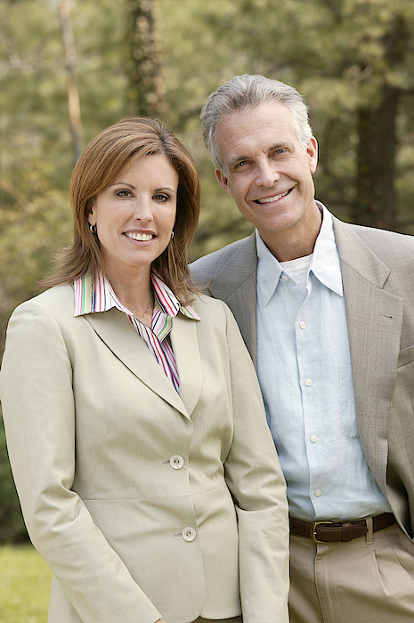 Outdoor Portrait Of Couple Photograph by Comstock Images