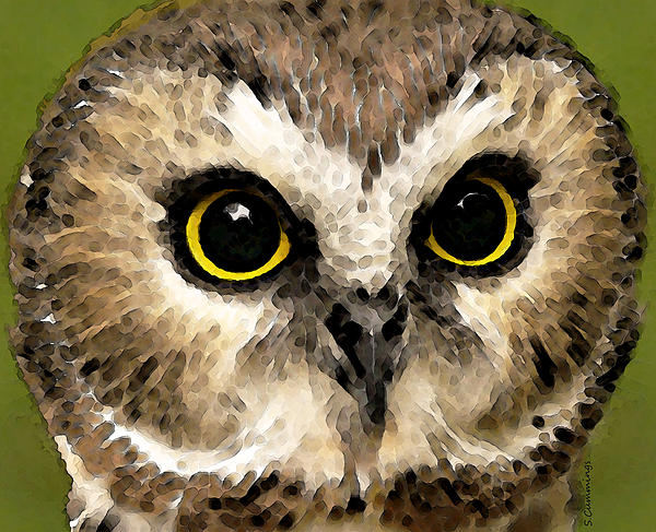 Owl Painting - Owl Art - Night Vision by Sharon Cummings