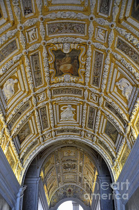 Architectural Photograph - Painted Ceiling Of Staircase In Doges Palace by Sami Sarkis