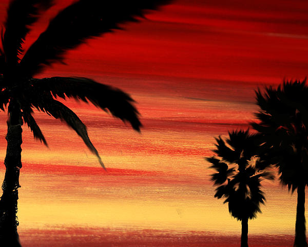 Sunset Painting - Palm Set by Ryan Burton