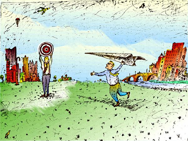 Paper Airplane & Bulls Eye Drawing by Vasily Kafanov