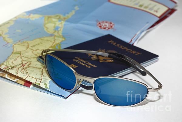 Bermuda Photograph - Passport Sunglasses And Map by Amy Cicconi