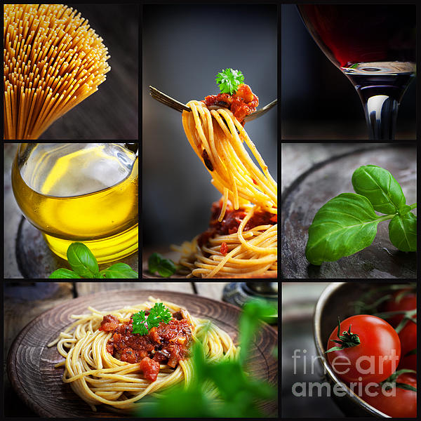 Pasta Photograph - Pasta Collage by Mythja  Photography