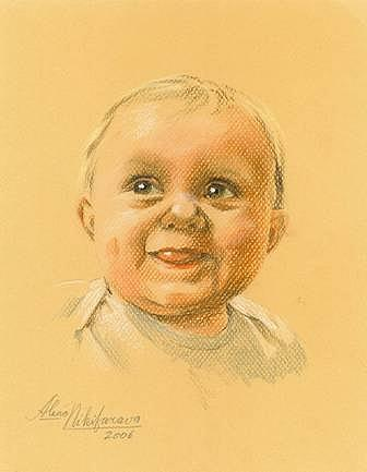 Pastel Portrait Of Baby. Commission. Pastel by Alena Nikifarava