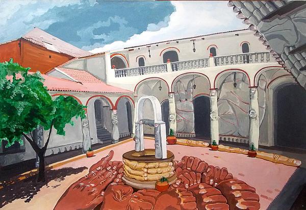 Contemporary Art Painting - Patio Colonial by Lazaro Hurtado