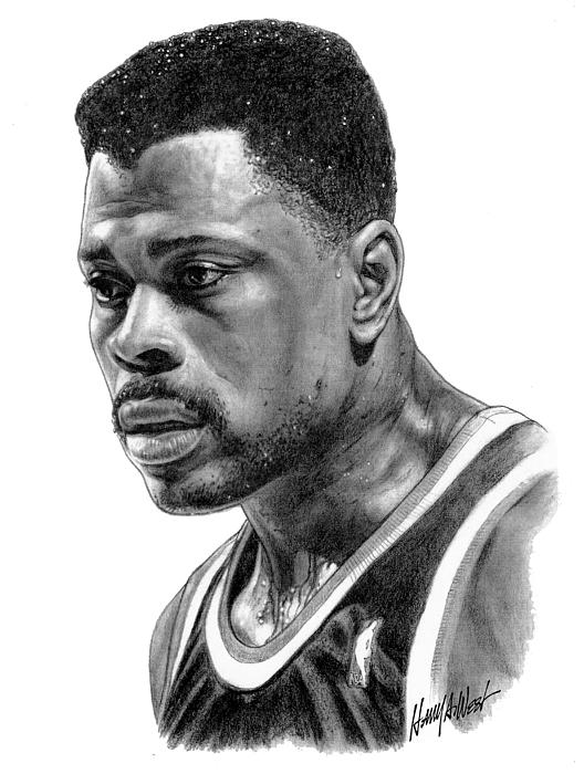 Patrick Ewing Drawing - Patrick Ewing by Harry West