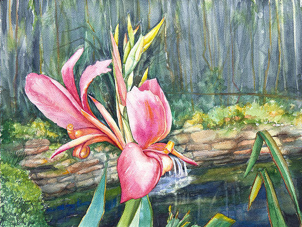 Artwork Painting - Peach Canna By The Pond by Patricia Allingham Carlson