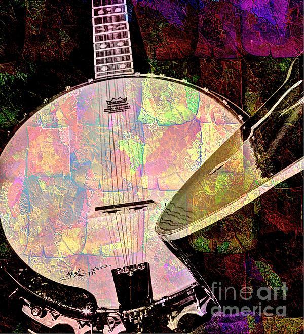 Acoustic Photograph - Pearl Digital Banjo And Guitar Art By Steven Langston by Steven Lebron Langston
