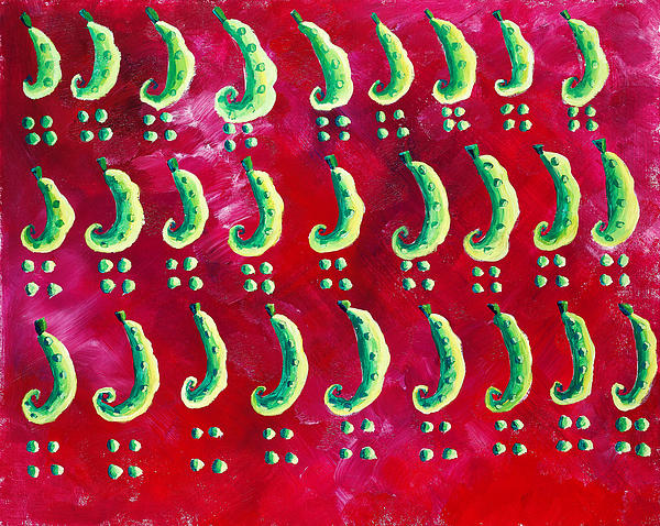 Vegetables Painting - Peas On A Red Background by Julie Nicholls