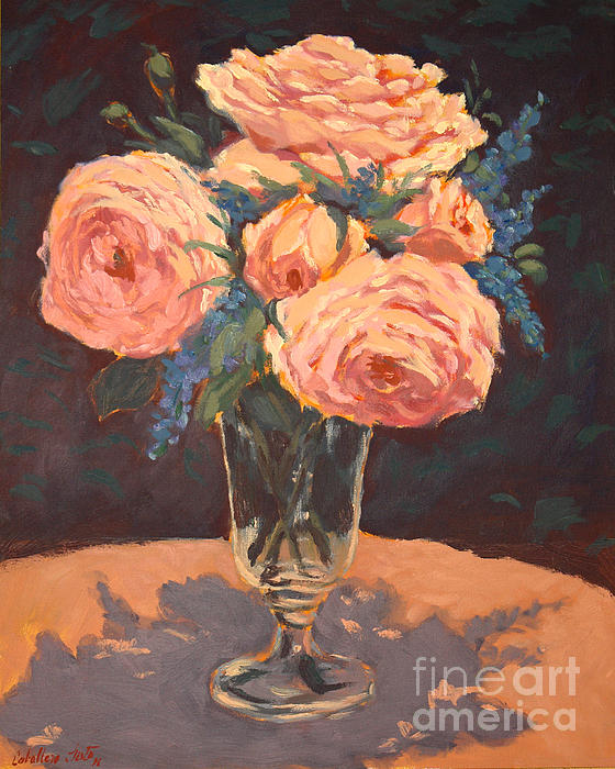 Still Life Arrangements Painting - Peonies by Monica Caballero