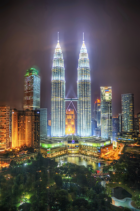Petronas Twin Towers And Klcc Park At Night Photograph by Daniel Chui