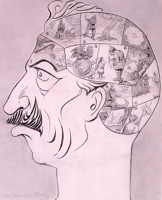 1910s Drawing - Phrenological Chart Of The German by Oliver Herford