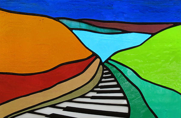 Piano Glass Art - Piano Road by Julie Turner