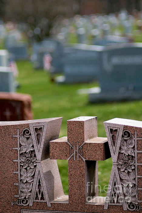 Burial Photograph - Pink Granite Tombstone by Amy Cicconi