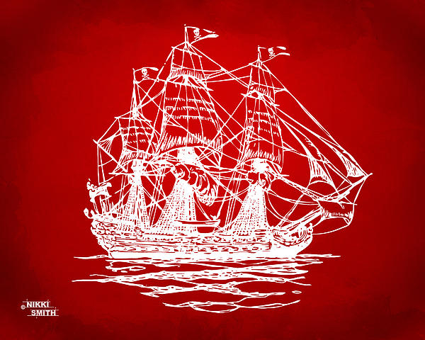 Pirate Ship Drawing - Pirate Ship Artwork - Red by Nikki Marie Smith