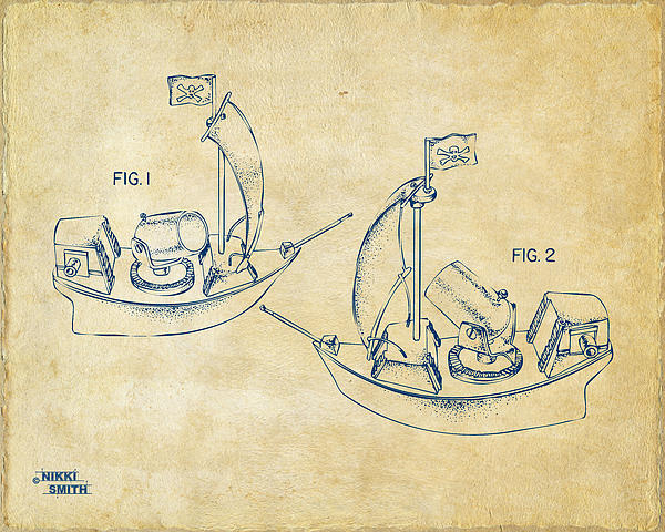 Pirate Digital Art - Pirate Ship Patent Artwork - Vintage by Nikki Marie Smith