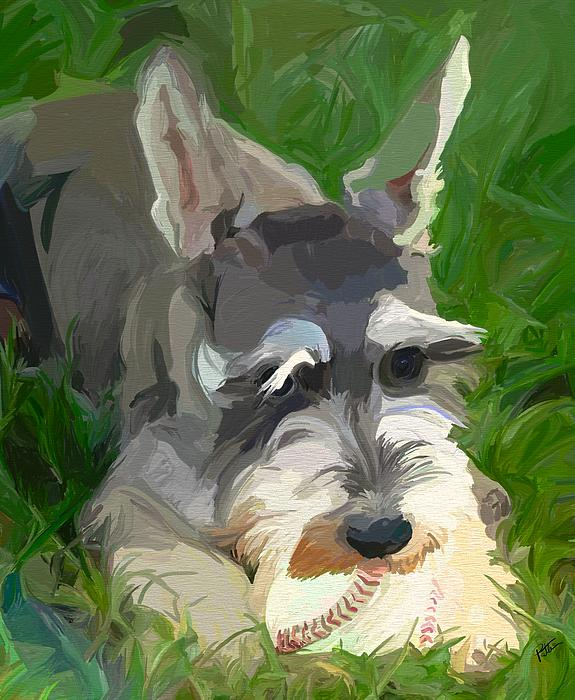 Dog Painting - Play Ball by Patti Siehien