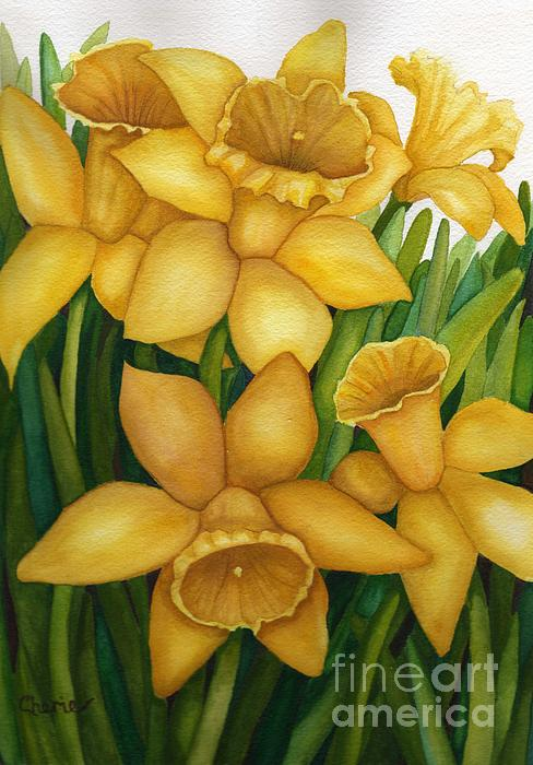 Daffodils Painting - Playful Daffodils by Vikki Wicks