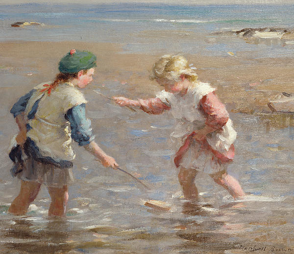 Kid Painting - Playing In The Shallows by William Marshall Brown