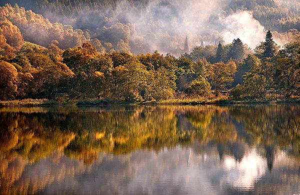 Fog Photograph - Playing Mirror. Loch Achray. Scotland by Jenny Rainbow