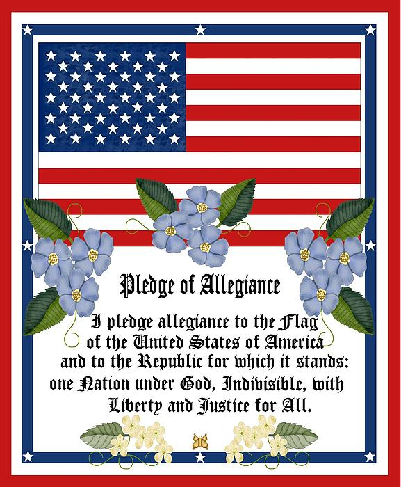 Pledge Of Allegiance To The United States Of America.  Us Flag Painting - Pledge Of Allegiance by Anne Norskog
