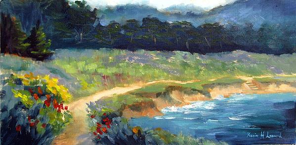 Point Lobos Painting - Point Lobos Trail by Karin  Leonard