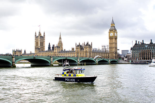 Police Photograph - Police Boat On The River Thames Outside Parliment by Fizzy Image