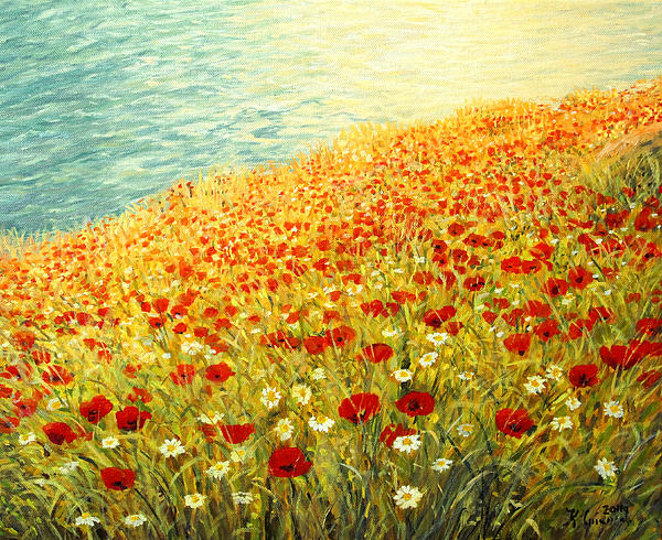 Artist Painting - Poppies Of Kaliakra II by Kiril Stanchev