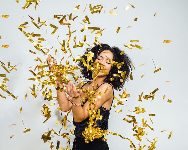 Portrait Of Happy Woman In Confetti Photograph by Artem Varnitsin / EyeEm
