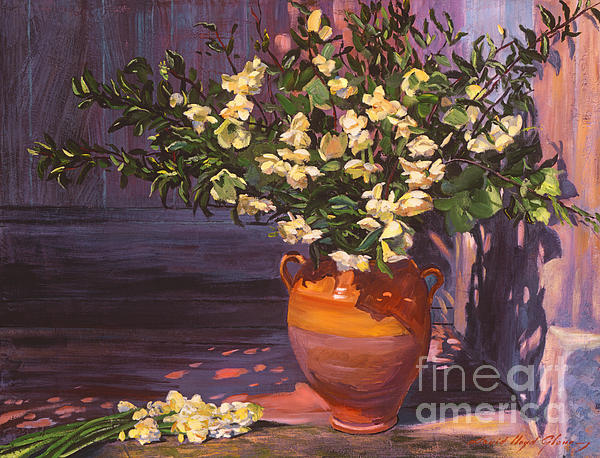 Flowers Painting - Pottery Flower Jug by David Lloyd Glover