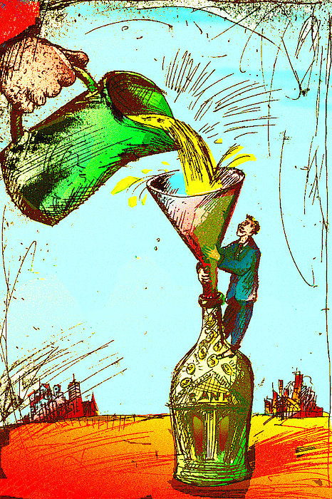 Pouring Liquid Gold Into Bottle Drawing by Vasily Kafanov