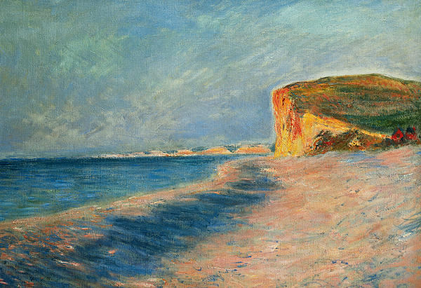 Outdoor; Outdoors; Outside; Painting; Peace; Peaceful; Perspective; Picturesque; Positive Concepts; Pourville; Pourville Pres De Dieppe; Quiet; Receding View; Rock; Sea; Seine Maritime; Shore; Shoreline; Sky; Still; Sun; Sunlight; Sunny; Tide; Time Of Day; Tranquil; Tranquility; Water; Waves Painting - Pourville Near Dieppe by Claude Monet