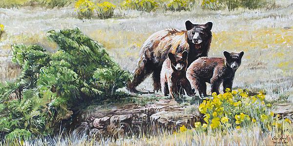 Bear Painting - Prairie Black Bears by Aaron Spong